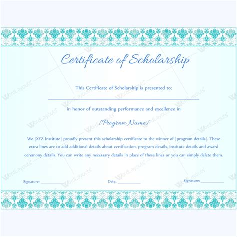 scholarship award template search results for award certificate template microsoft