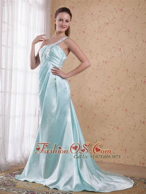 light blue satin dress light blue empire one shoulder brush sweep elastic woven