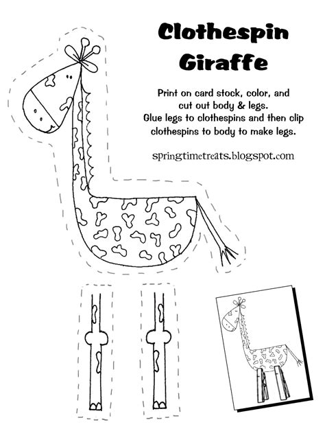 Spring Time Treats Clothespin Giraffe Free Printable Giraffe Templates To Print