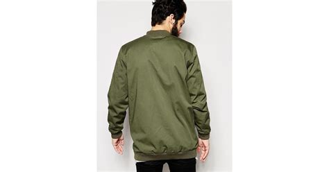 Asos Longline Bomber asos longline bomber jacket in khaki in green for lyst