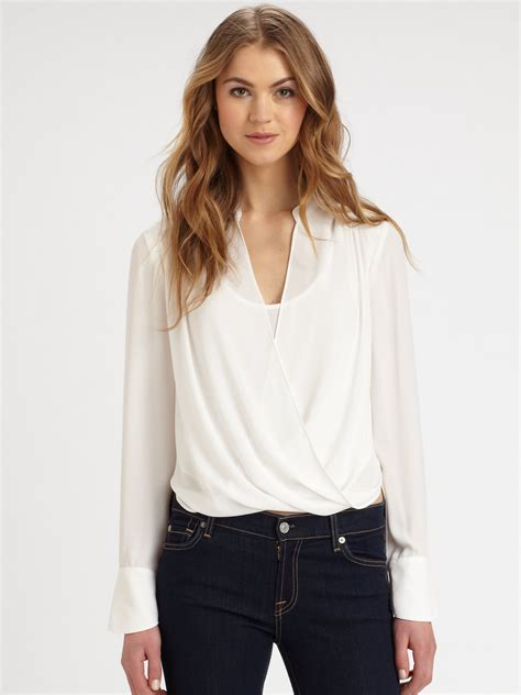 draped blouse bcbgmaxazria jaklyn crossover draped blouse in white alabaster lyst