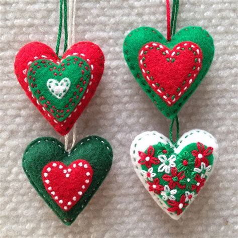 red green and white embroidered felt heart christmas