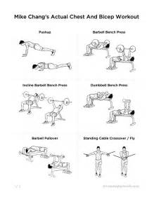 best home workouts mike chang s actual chest and bicep workout printable