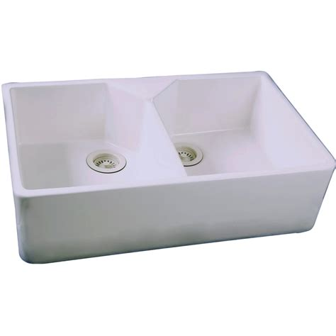 Shop Barclay White Double Basin Apron Front Farmhouse Lowes Sinks Kitchen