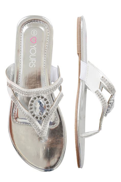 white rhinestone sandals white rhinestone toe post diamante sandals in a eee fit