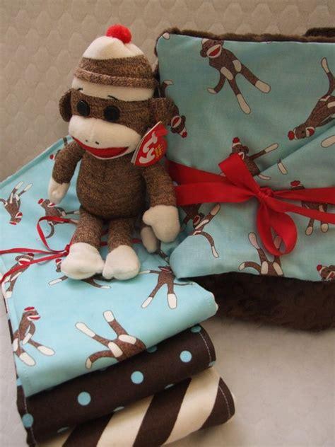 Handmade Sock Monkeys For Sale - shower gift for new baby handmade baby burp by
