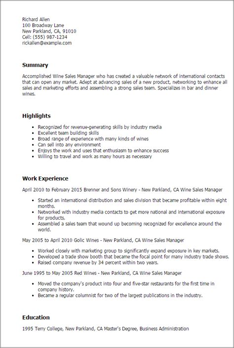 Wine Sales Representative Sle Resume by Professional Wine Sales Manager Templates To Showcase Your Talent Myperfectresume