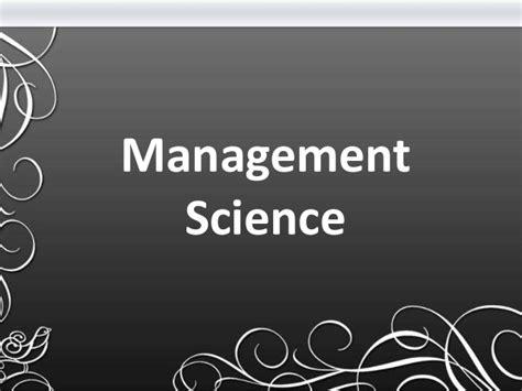 Management Science3 management science