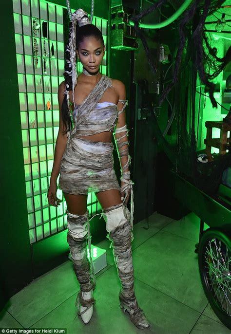 chanel iman halloween chanel iman wears mummy inspired rags to heidi klum s