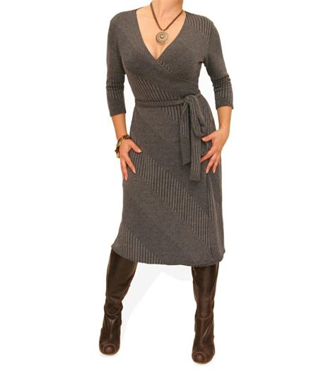 knit wrap dress just blue grey ribbed knitted wrap dress