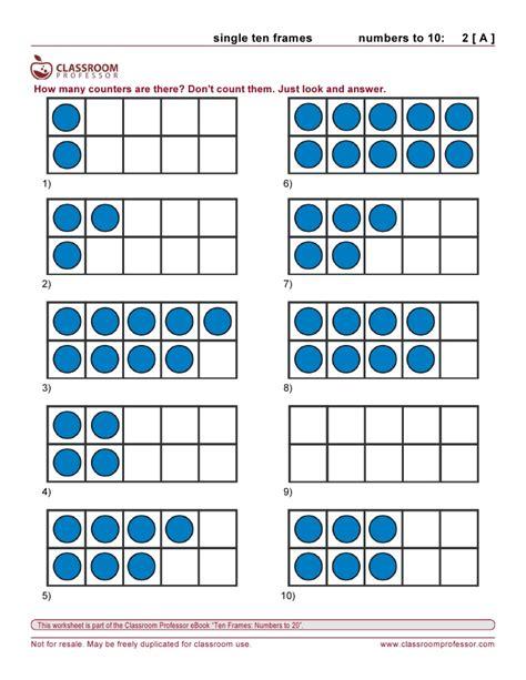 10 Frame Worksheets by Worksheets Ten Frames