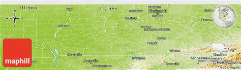 physical map of kentucky physical panoramic map of kentucky