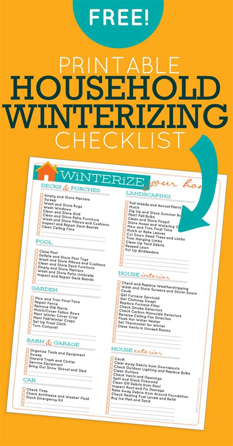 How To Winterize A House by Household Winterizing Checklist