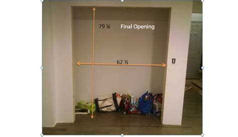 closet door opening size how to install closet bi pass doors