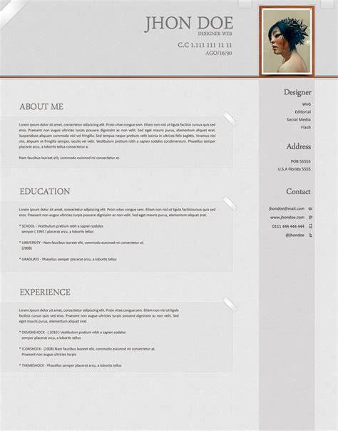 Photo Resume Template by Softwarm Psd Resume Template Open Resume Templates