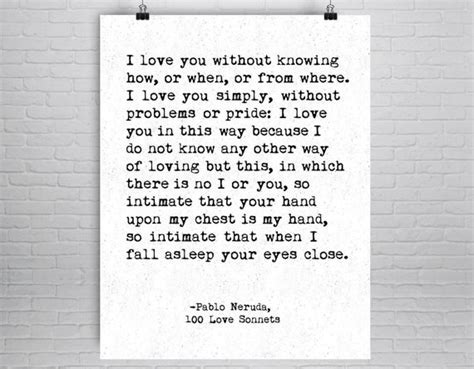 Pablo Neruda Quote Love Poem Poetry Print Poetry Poster