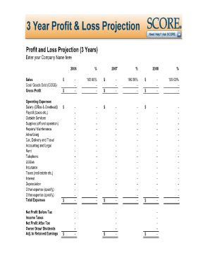 fillable and printable profit loss statement fill online