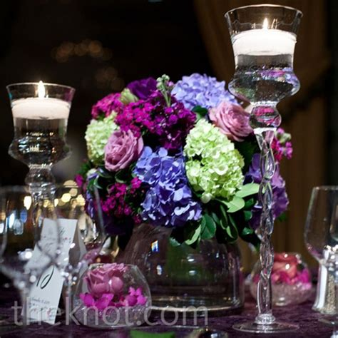 purple and green centerpieces for weddings purple and green centerpiece