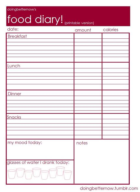 printable food diary form 8 best images of weekly food journal printable worksheet