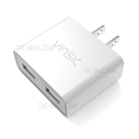 Vinsic Usb Travel Charger 2 Port 5v 4 8a Eu Vinsic 2 Usb Ports 2 4a Travel Charger Adapter For Iphone Samsung Huawei Us White Tvc