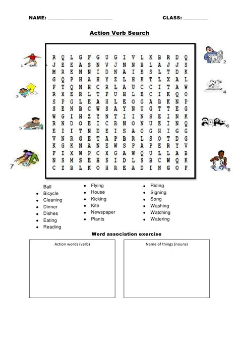printable word searches verbs action verb search