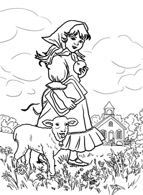 mary had a little lamb coloring page coloring home