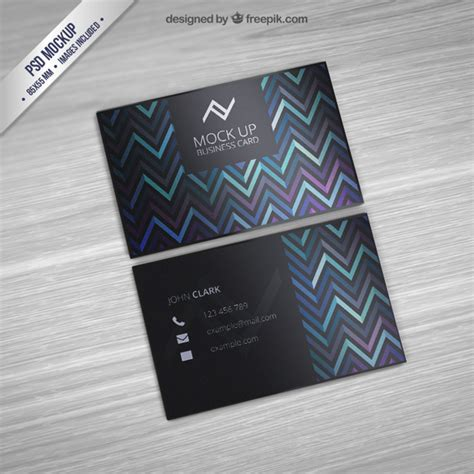 Pattern Psd Mockup | business card mockup with zigzag pattern psd file free