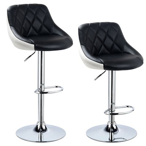 Faux Leather Bar Stools With Back by 2 X Bar Stools Faux Leather Breakfast Kitchen Swivel Stool