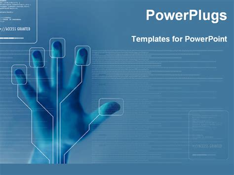 high tech powerpoint template program for finger printing security powerpoint template
