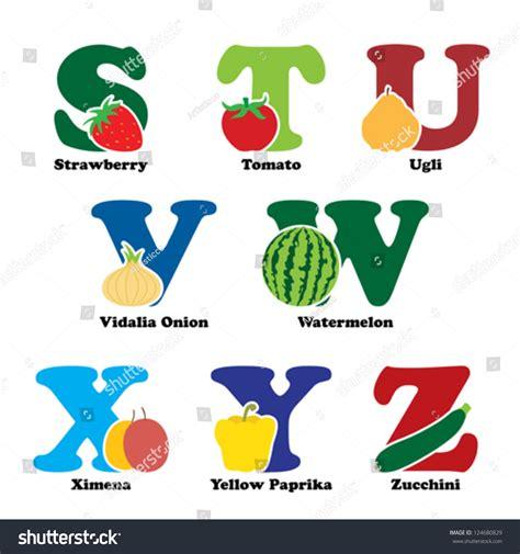 vegetables a z vector illustration fruit vegetables alphabetical order