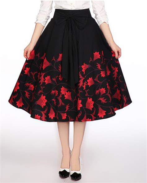 swing dance skirts rk106 1950s floral flower circle swing dance skirt