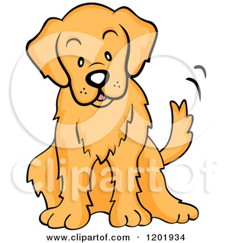 golden retriever character of a golden retriever sitting and wagging his royalty free