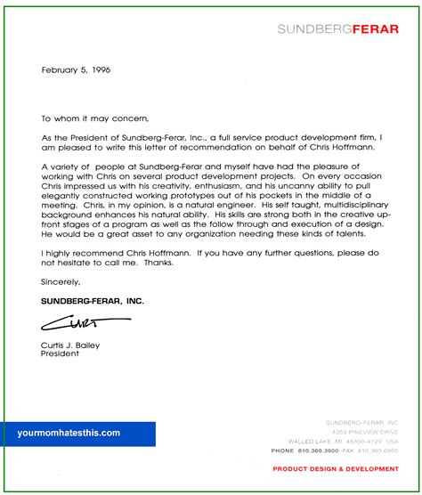 Recommendation Letter Template Letter Of Recommendation Sles