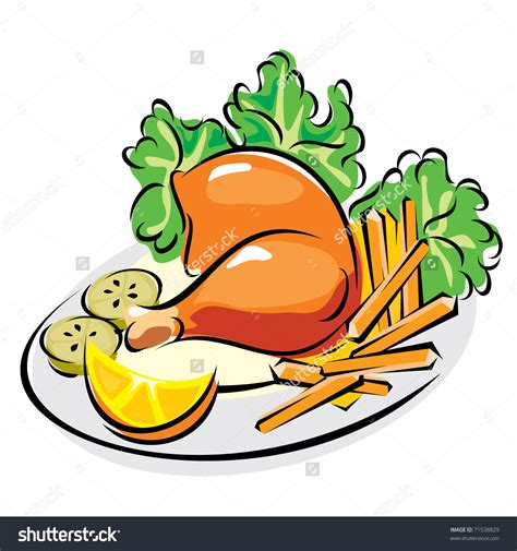 clipart food plate of food with chicken clipart 101 clip