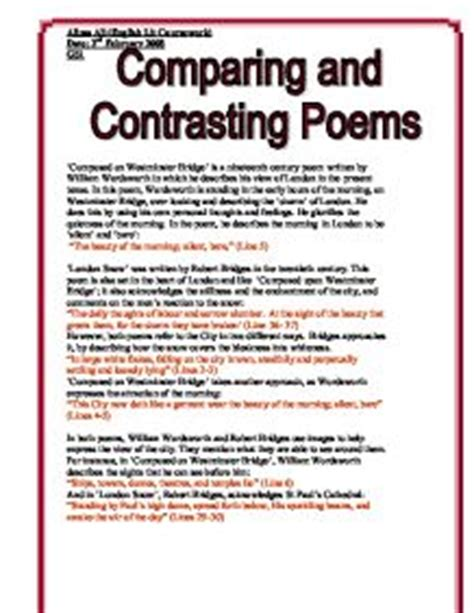 Compare And Contrast Poetry Essay by College Essays College Application Essays Compare And Contrast Poems Essay