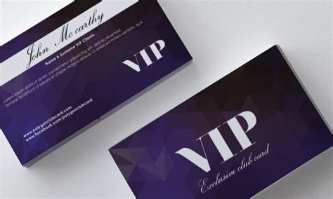vip card template purple polygon vip card front and back template vector