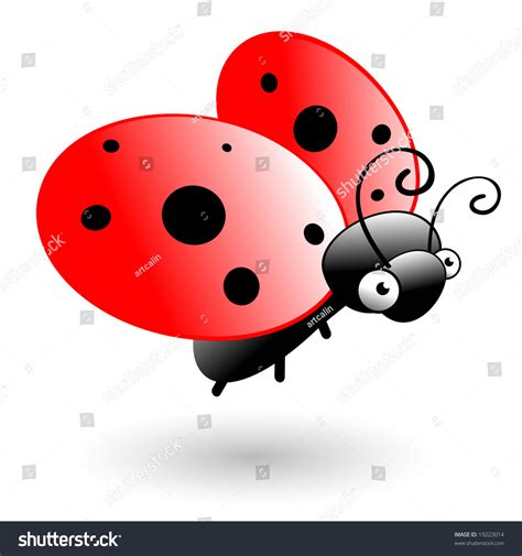 Cute Vector Ladybug Flying Cartoon Character Stock Vector ... Insect Drawings Clip Art