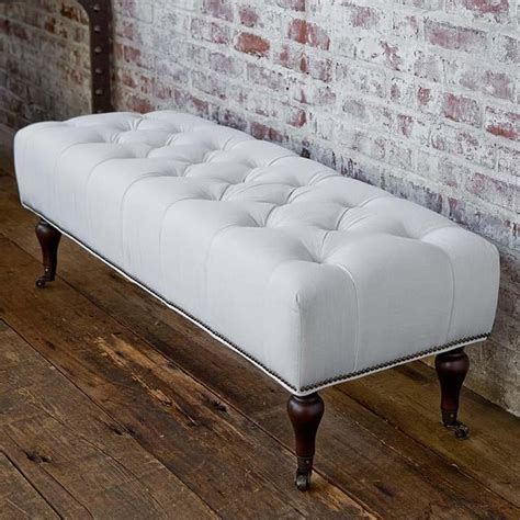 andrew tufted white linen bench traditional