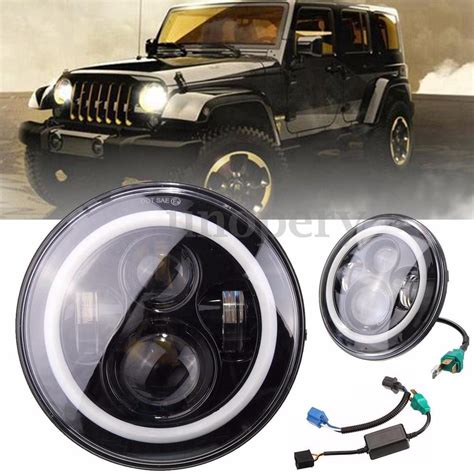 97 Jeep Headlights 7 Quot Led Headlights Halo Angle Fit Jeep 97 2015