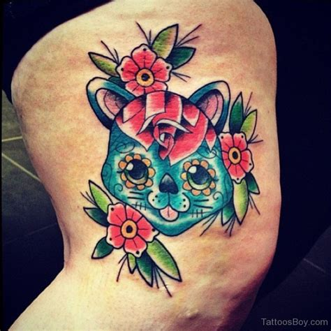 tattoo cat and flower leg tattoos tattoo designs tattoo pictures page 11