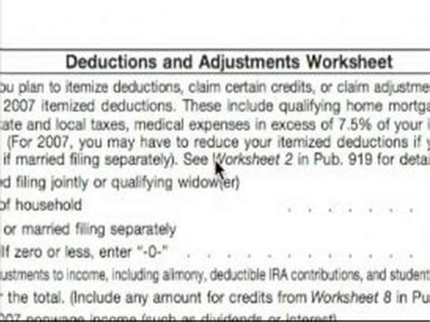Deductions And Adjustments Worksheet For Federal Form W 4 by Basic Explanation Of W 4 Tax Form Deductions