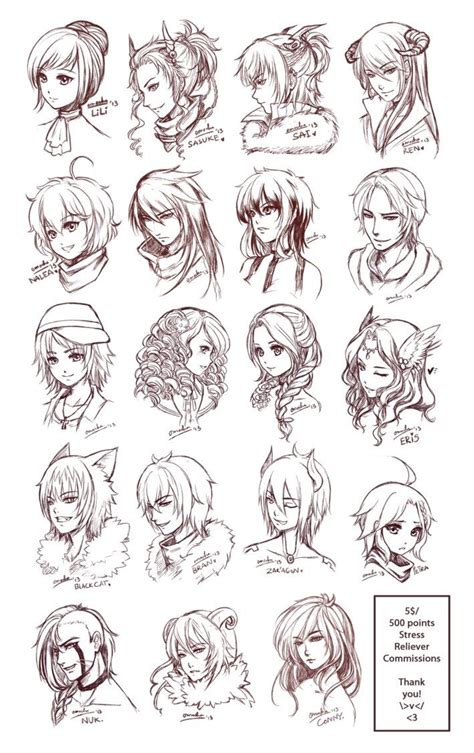 anime hairstyles ideas inspiration hair expressions manga art drawing