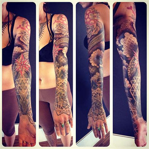 geometric tattoo full sleeve flowers geometric full sleeve by gerhard wiesbeck design
