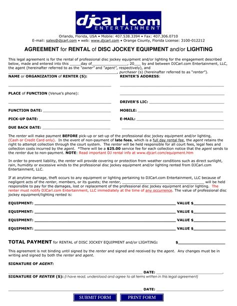 best of collection of equipment rental agreement form