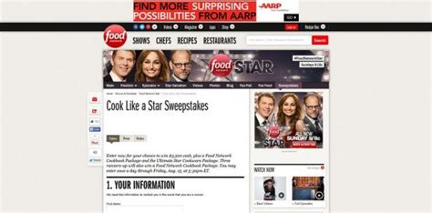 Foodnetwork Sweepstakes - food network cook like a star sweepstakes