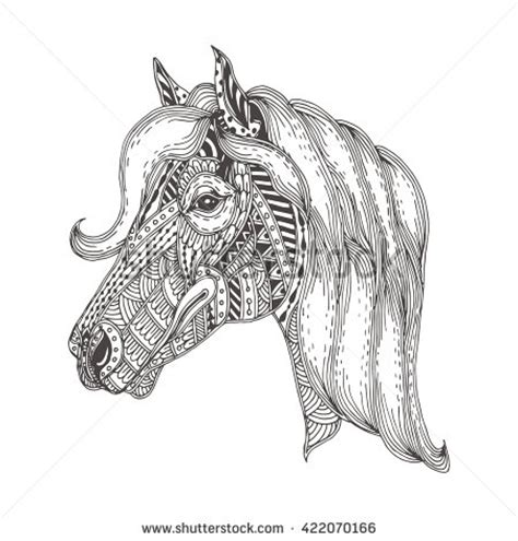 pattern horse drawing handdrawn horse ethnic floral doodle pattern stock vector