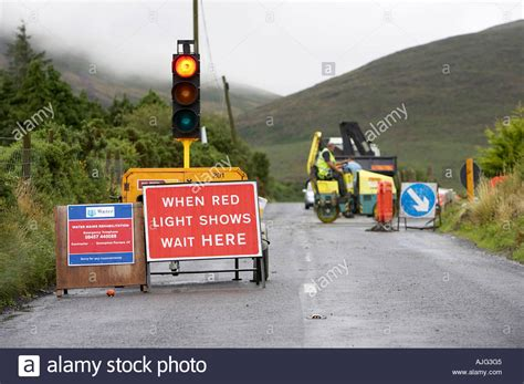 Temporary Traffic Light At Roadworks In The Mourne