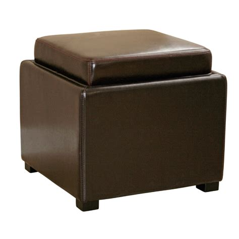 Wholesale Interiors Bicast Leather Storage Ottoman Brown D Storage Ottoman Brown