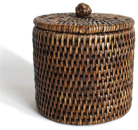 Bathroom Storage Containers Rattan Small Bathroom Containers Set 2 Tropical Bathroom Storage Jars By Hudson Vine