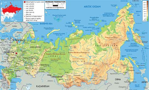 map of russia with cities rivers and mountains physical map of russia ezilon maps